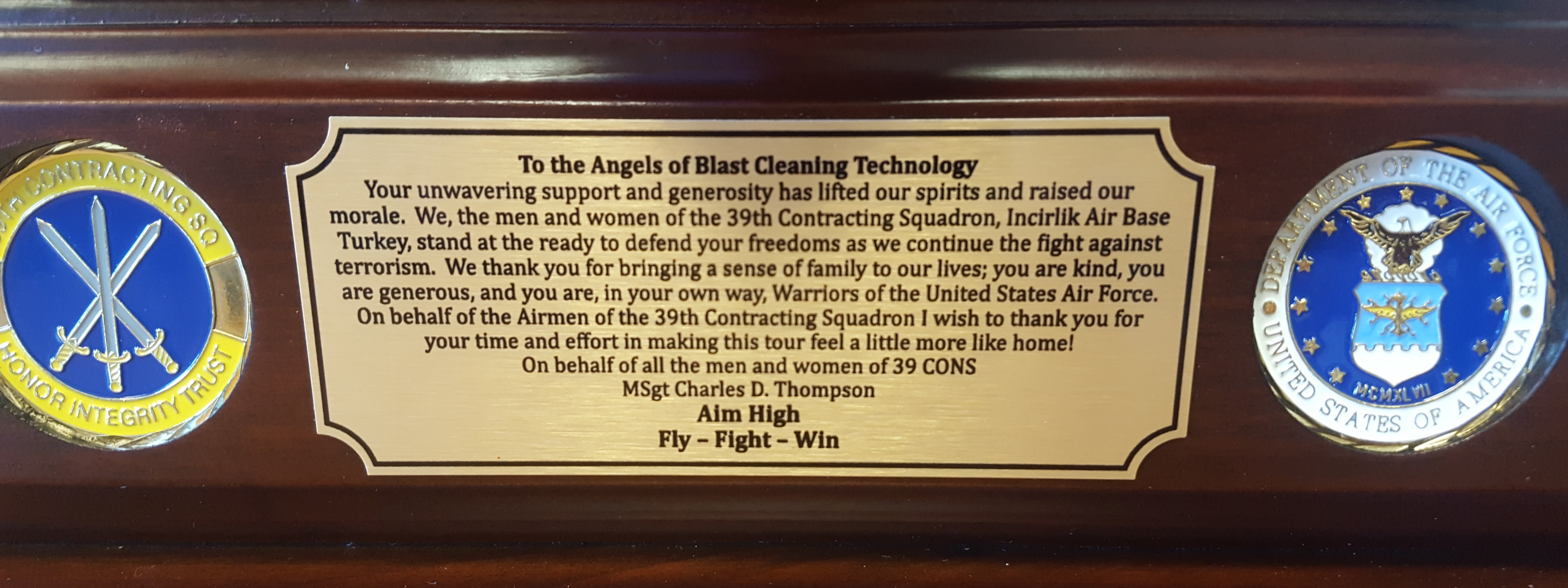 Gift to Blast Cleaning Technologies from Soldiers Angels